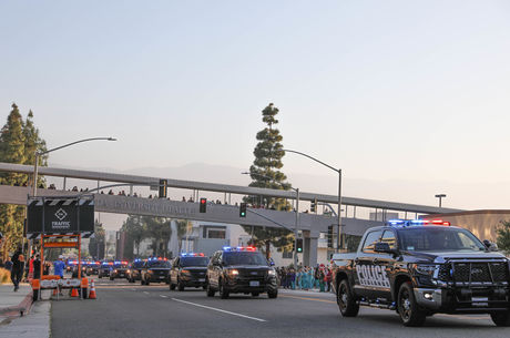 First responder vehicles parade past Loma Linda University Health