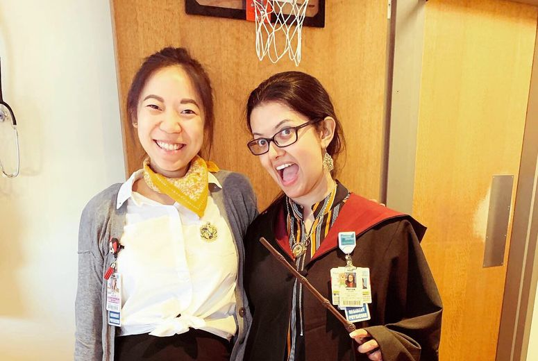Residents celebrating Harry Potter