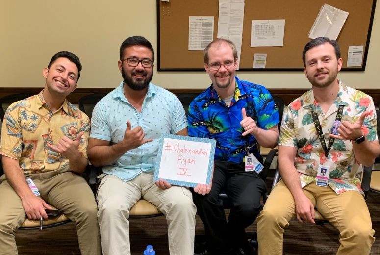 Residents celebrating Hawaiin day
