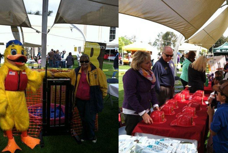 Two images of people at booths at an outdoor event